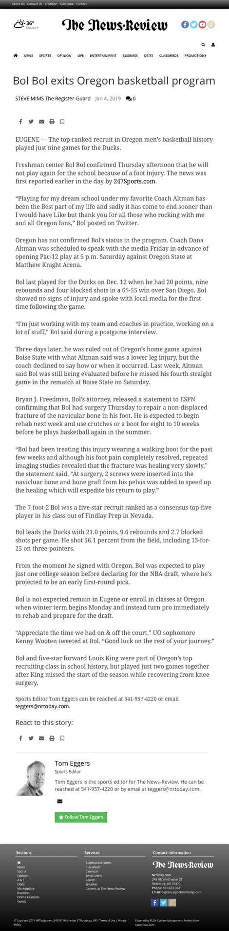 Bol Bol exits Oregon basketball program - article by NRtoday.com