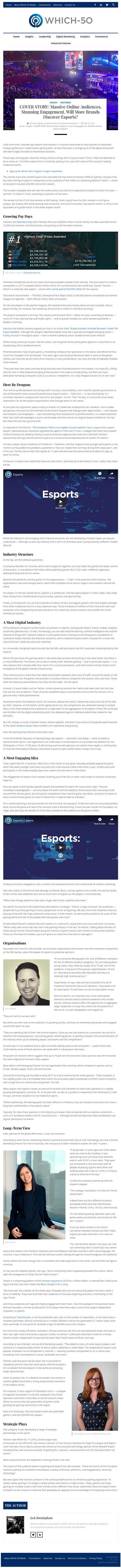 COVER STORY: Massive Online Audiences, Stunning Engagement. Will More Brands Discover Esports? - article by which-50.com