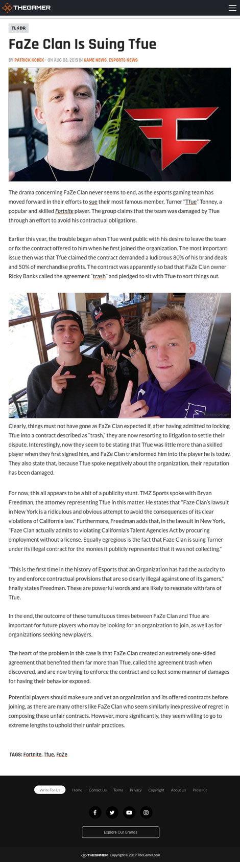 """FaZe Clan Is Suing Tfue"""" - article by TheGamer.com"""