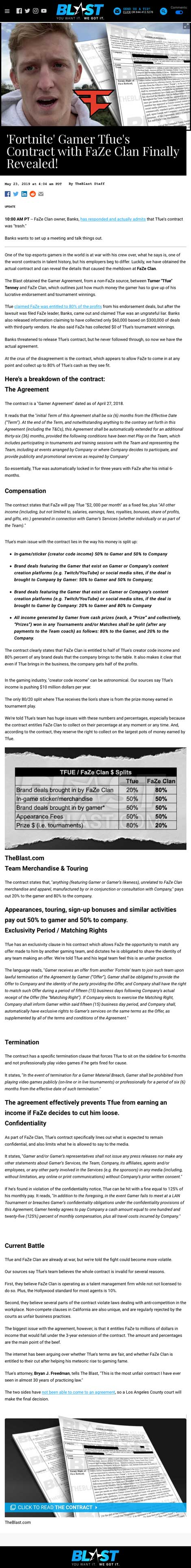'Fortnite' Gamer Tfue's Contract with FaZe Clan Finally Revealed! - article by TheBlast.com