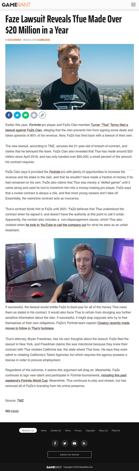 Faze Lawsuit Reveals Tfue Made Over $20 Million in a Year - article by GameRant.com