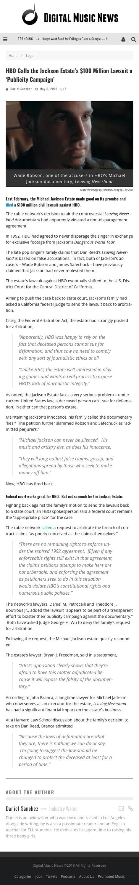 HBO Calls the Jackson Estate's $100 Million Lawsuit a 'Publicity Campaign' - article by DigitalMusicNews.com