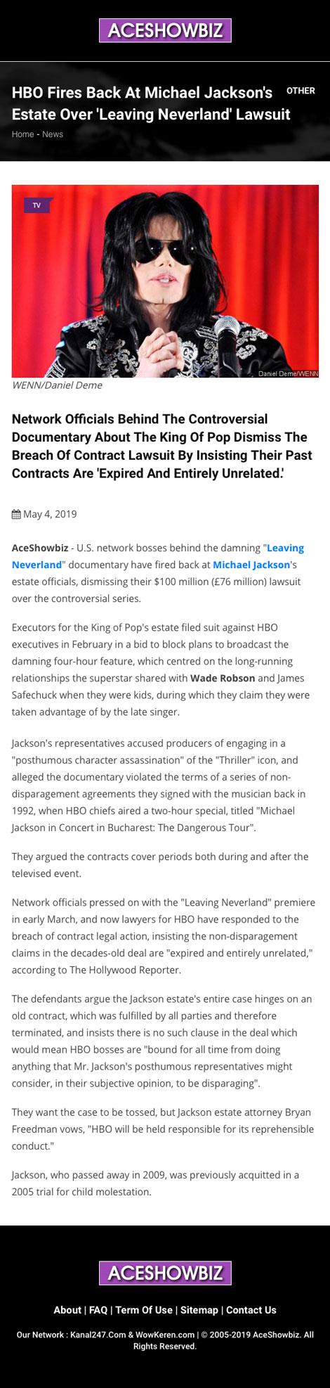 HBO Fires Back At Michael Jackson's Estate Over 'Leaving Neverland' Lawsuit - article by AceShowBiz.com