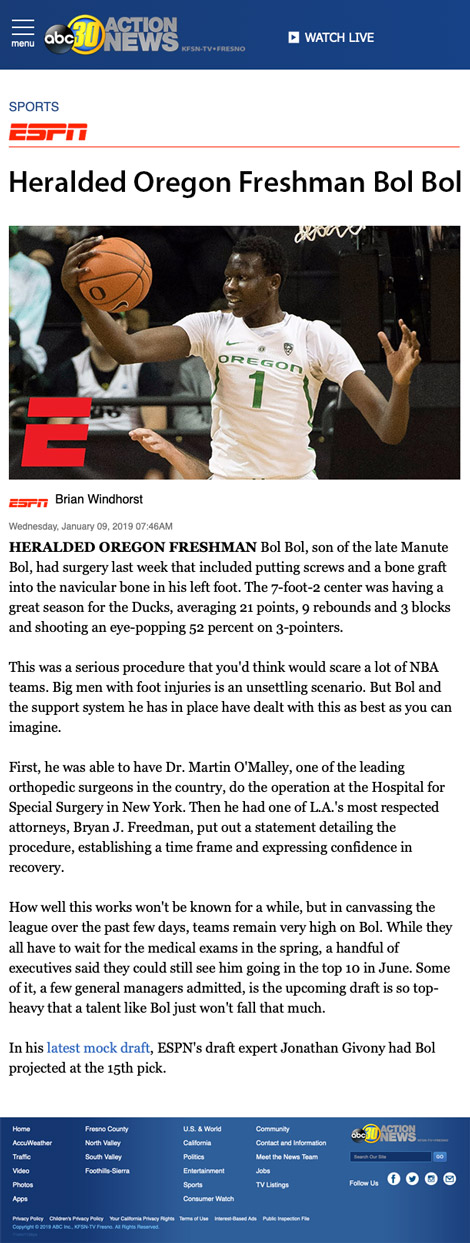 Heralded Oregon Freshman Bol Bol - article by abc30.com