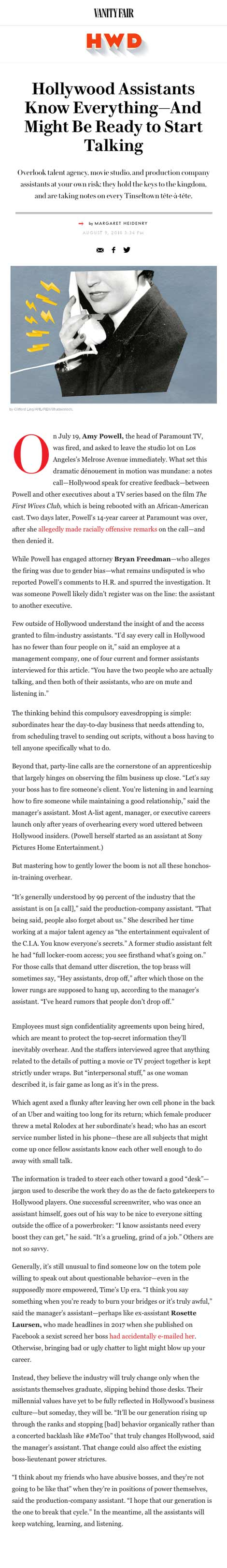 Hollywood Assistants Know Everything—And Might Be Ready to Start Talking - article by VanityFair.com