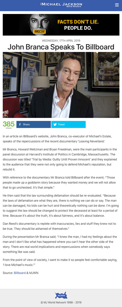 John Branca Speaks To Billboard - article by MJWorld.net