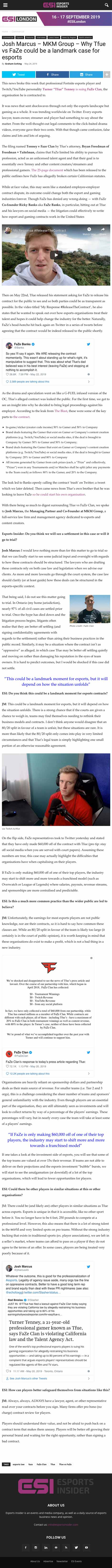 Josh Marcus – MKM Group – Why Tfue vs FaZe could be a landmark case for esports - article by eSportsInsider.com