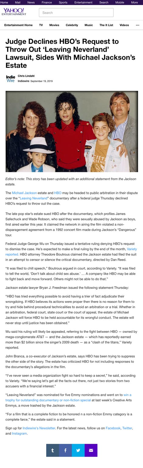 Judge Declines HBO's Request to Throw Out 'Leaving Neverland' Lawsuit, Sides With Michael Jackson's Estate - article by Yahoo.com
