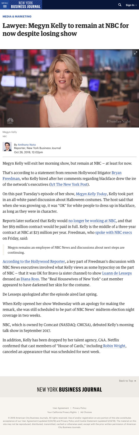 Lawyer: Megyn Kelly to remain at NBC for now despite losing show - article by New York Business Journal