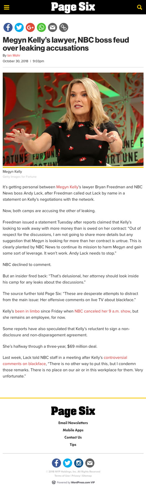 Megyn Kelly's lawyer, NBC boss feud over leaking accusations - article by Page Six