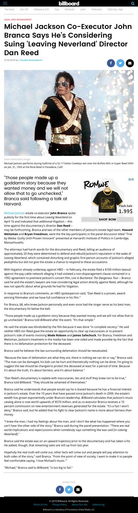 Michael Jackson Co-Executor John Branca Says He's Considering Suing 'Leaving Neverland' Director Dan Reed - article by Billboard.com