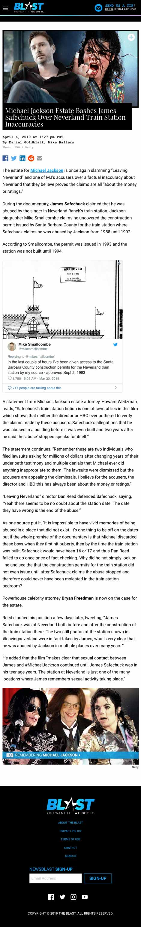 Michael Jackson Estate Bashes James Safechuck Over Neverland Train Station Inaccuracies - article by TheBlast.com