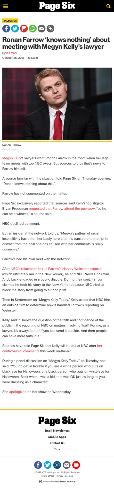 Ronan Farrow 'knows nothing' about meeting with Megyn Kelly's lawyer - article by PageSix.com