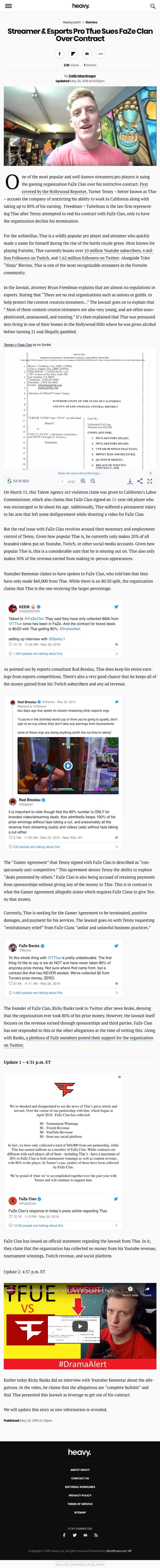 Streamer & Esports Pro Tfue Sues FaZe Clan Over Contract - article by heavy.com