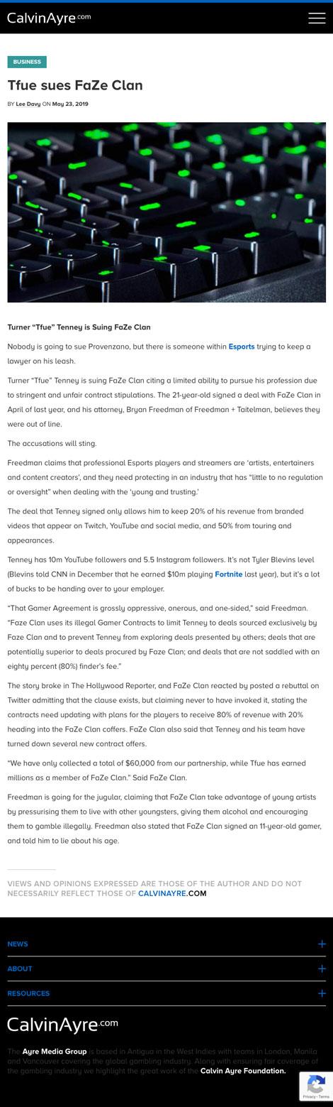 Tfue Sues FaZe Clan - article by CalvinAyre.com