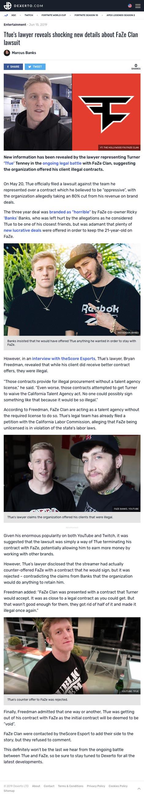 Tfue's lawyer reveals shocking new details about FaZe Clan lawsuit - article by Dexerto.com