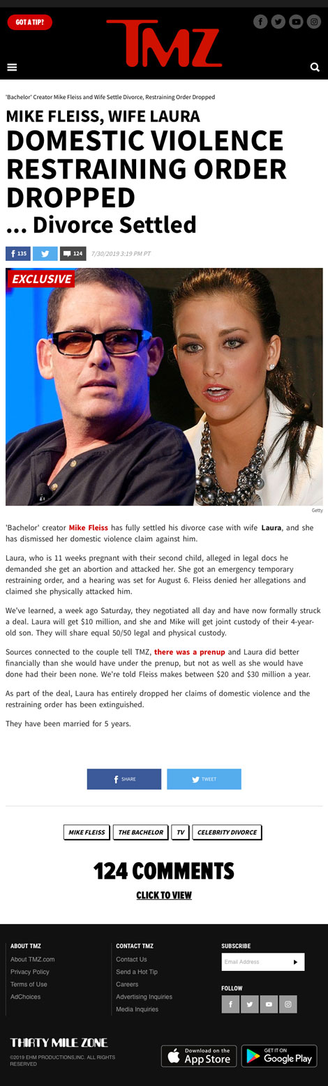 Mike Fleiss, Wife Laura, Domestic Violence Restraining Order Dropped... Divorce Settled - article by TMZ.com