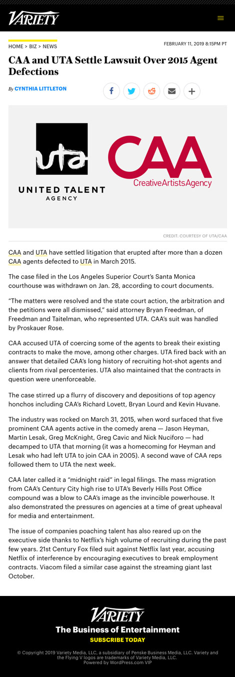 CAA and UTA Settle Lawsuit Over 2015 Agent Defections - article by Variety.com