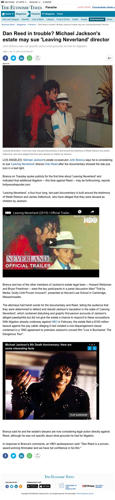 Dan Reed in trouble? Michael Jackson's estate may sue 'Leaving Neverland' director - article by The Economic Times