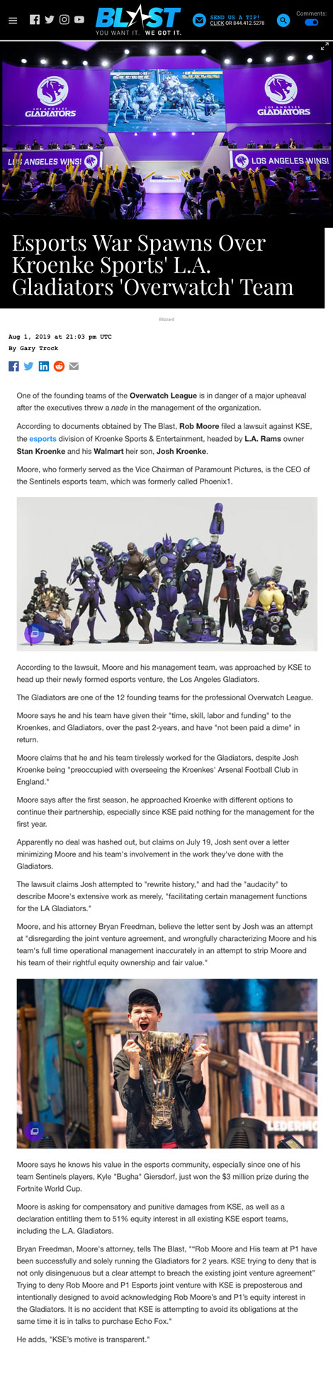 Esports War Spawns Over Kroenke Sports' L.A. Gladiators 'Overwatch' Team - article by TheBlast.com