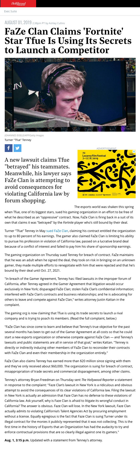 FaZe Clan Claims 'Fortnite' Star Tfue Is Using Its Secrets to Launch a Competitor - article by HollywoodReporter.com