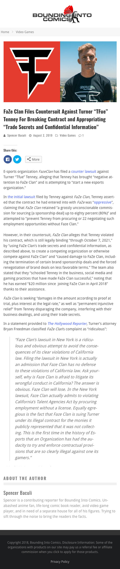 "FaZe Clan Files Countersuit Against Turner ""TFue"" Tenney For Breaking Contract and Appropriating ""Trade Secrets and Confidential Information"" - article by BoundingIntoComics.com"