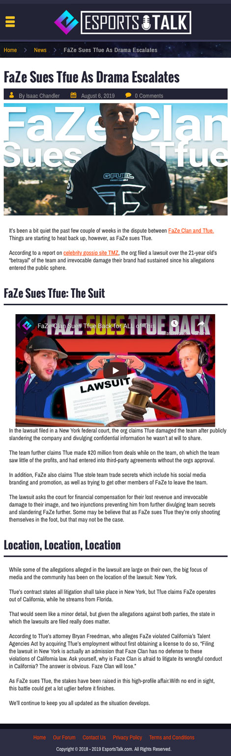 FaZe Sues Tfue As Drama Escalates - article by eSportsTalk.com