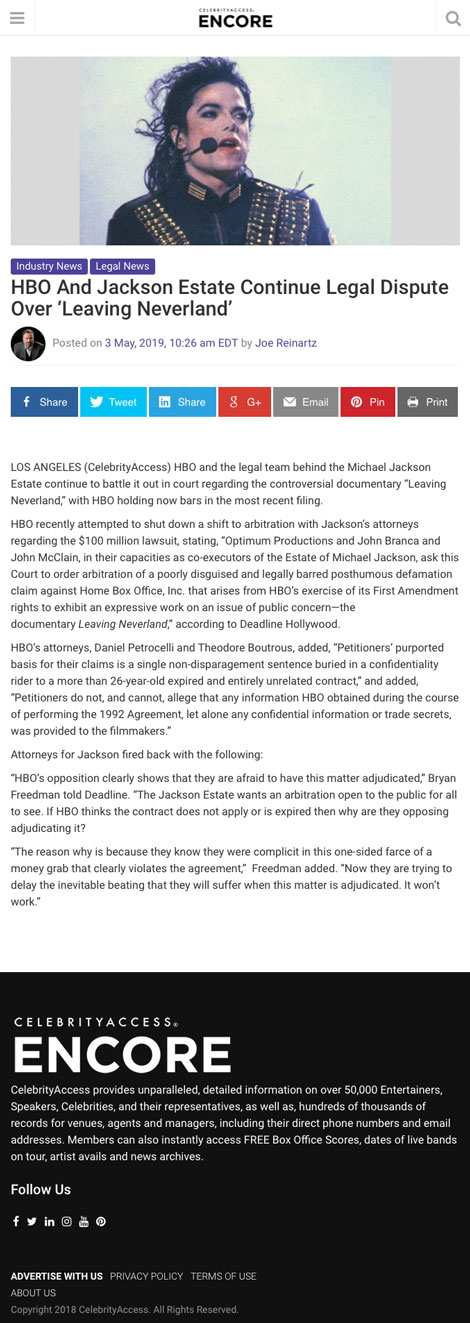HBO And Jackson Estate Continue Legal Dispute Over 'Leaving Neverland' - article by CelebrityAccess.com