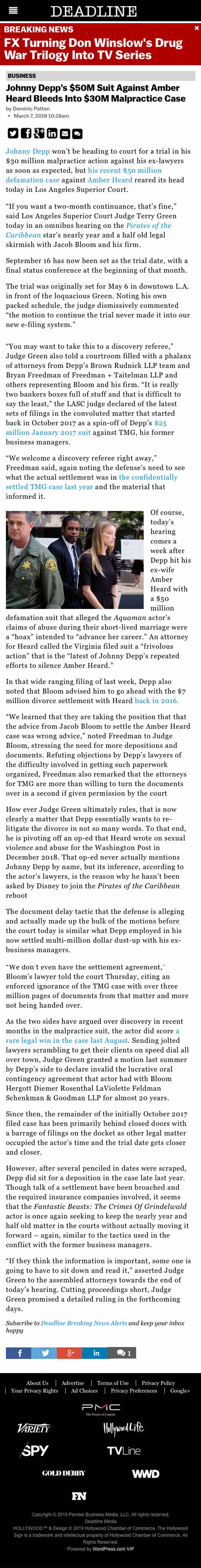 Johnny Depp's $50M Suit Against Amber Heard Bleeds Into $30M Malpractice Case - article by DeadlineHollywood.com
