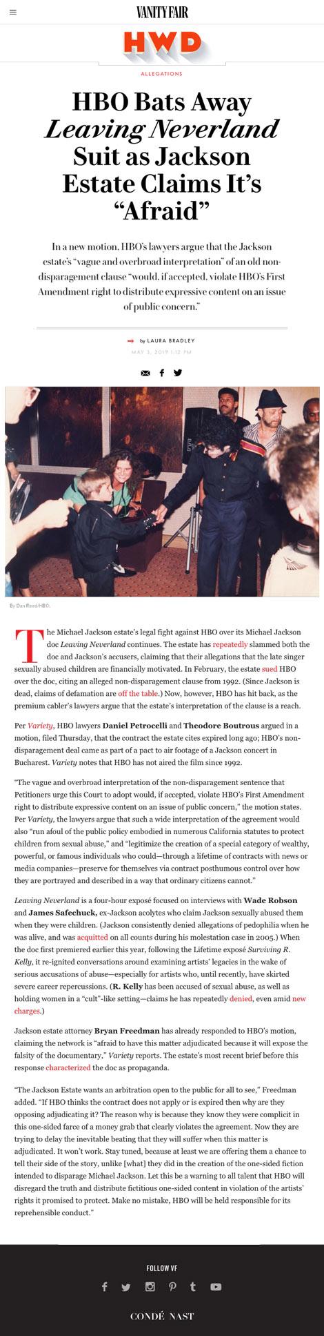 "HBO Bats Away Leaving Neverland Suit as Jackson Estate Claims It's ""Afraid"" - article by VanityFair.com"