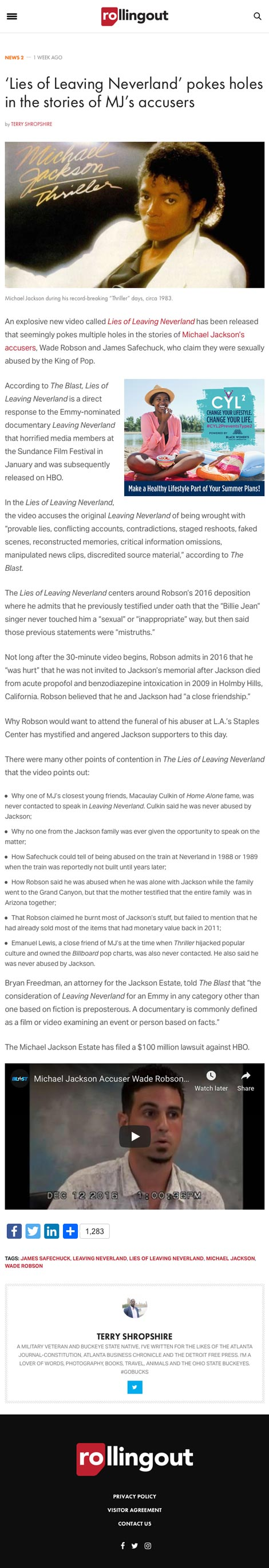 'Lies of Leaving Neverland' pokes holes in the stories of MJ's accusers - article by RollingOut.com