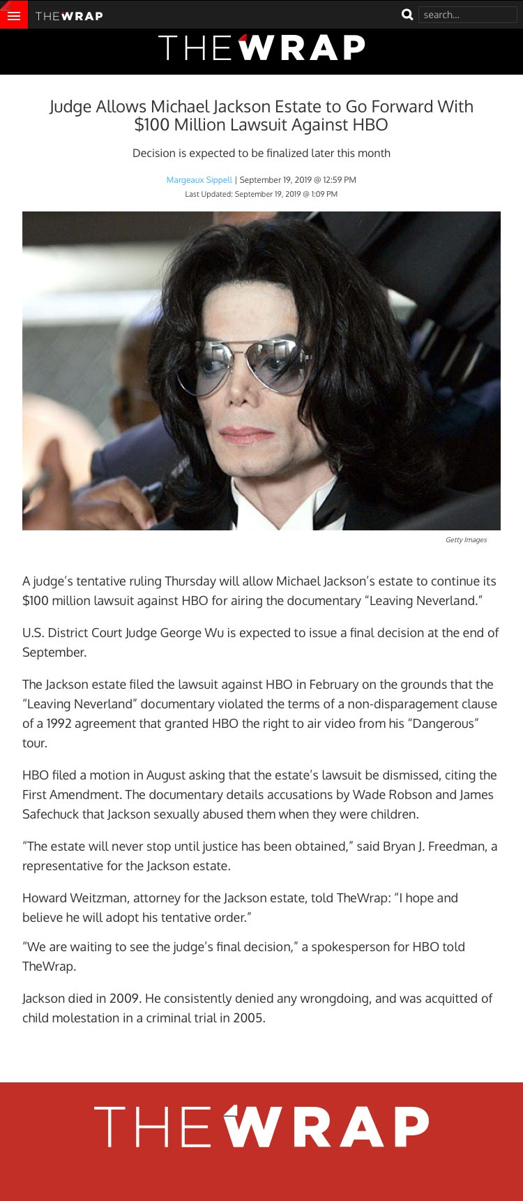 Judge Allows Michael Jackson Estate to Go Forward With $100 Million Lawsuit Against HBO - article by TheWrap.com