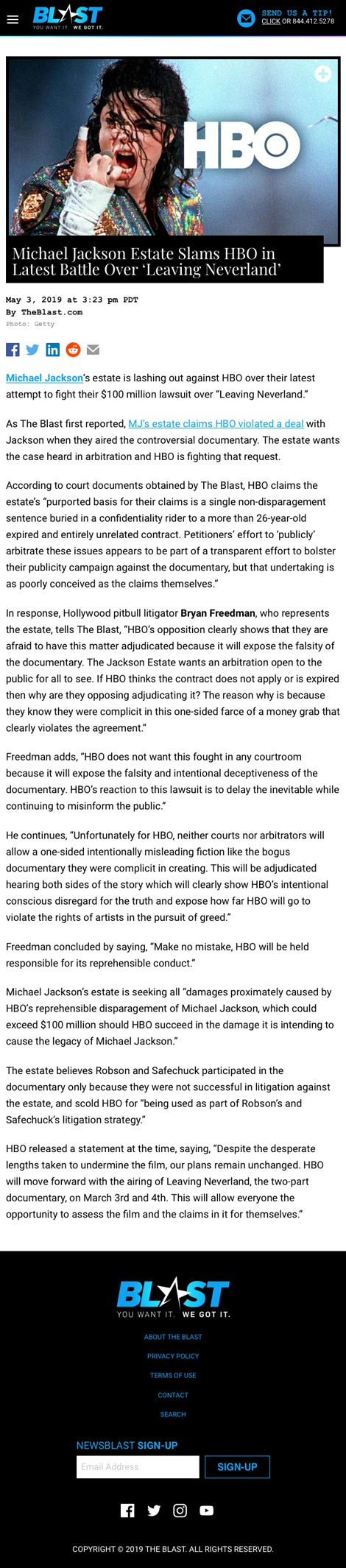 Michael Jackson Estate Slams HBO in Latest Battle Over 'Leaving Neverland' - article by TheBlast.com