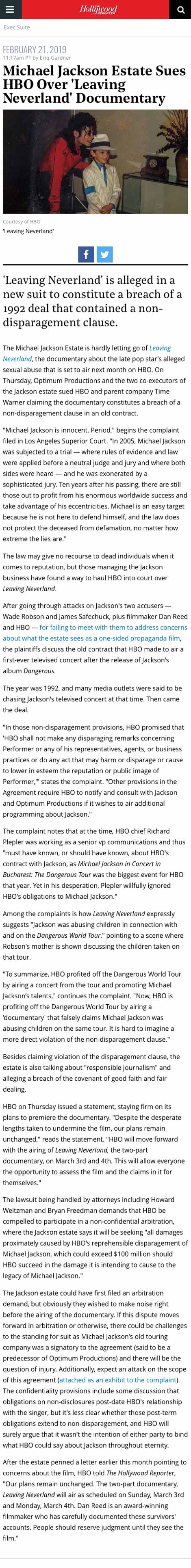 Michael Jackson Estate Sues HBO Over 'Leaving Neverland' Documentary - article by HollywoodReporter.com