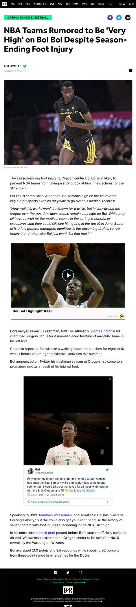 NBA Teams Rumored to Be 'Very High' on Bol Bol Despite Season-Ending Foot Injury - article by BleacherReport.com