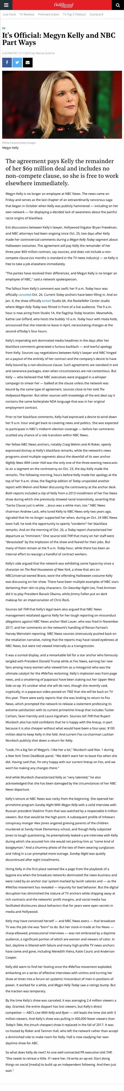 It's Official: Megyn Kelly and NBC Part Ways - article by hollywoodreporter.com