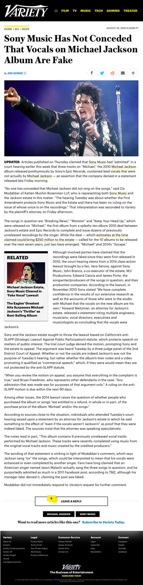 Sony Music Has Not Conceded That Vocals on Michael Jackson Album Are Fake - article by Variety.com