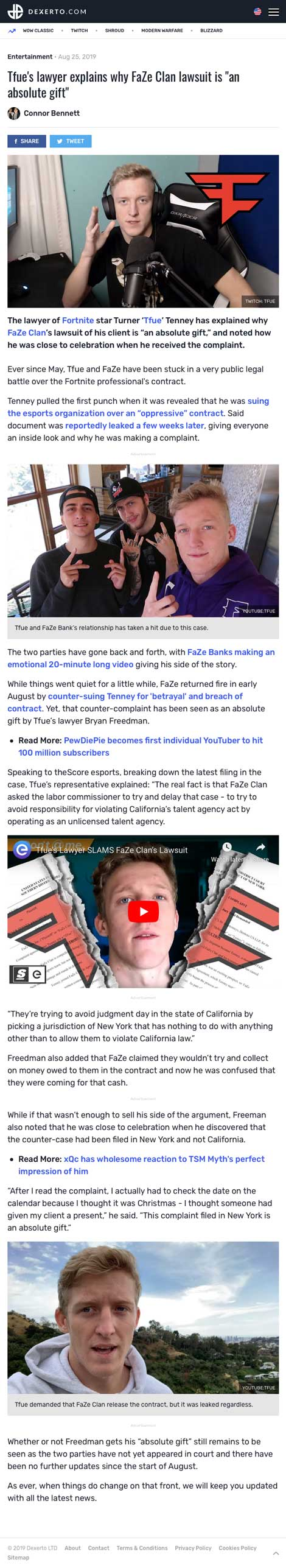 """Tfue's lawyer explains why FaZe Clan lawsuit is """"an absolute gift"""" - article by Dexerto.com"""