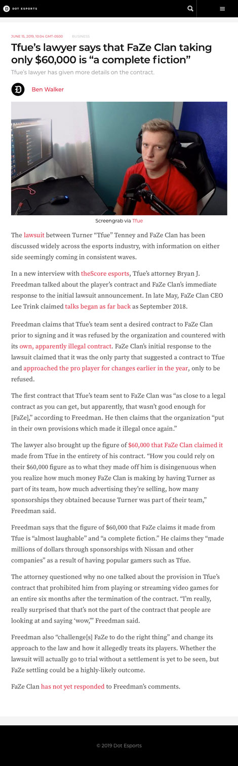 """Tfue's lawyer says that FaZe Clan taking only $60,000 is """"a complete fiction"""" - article by dotesports.com"""