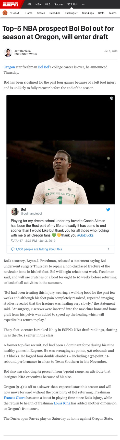 Top-5 NBA prospect Bol Bol out for season at Oregon, will enter draft - article by ESPN.com