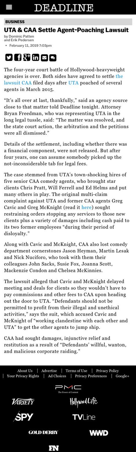 UTA & CAA Settle Agent-Poaching Lawsuit - article by Deadline.com