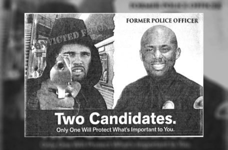 An image provided by Prophet Walker's attorneys shows part of a campaign mailer sent out by then-California Assembly candidate Mike Gipson that superimposed Walker's face over a hooded figure holding a handgun and pointing it at the viewer. COURTESY OF FREEDMAN + TAITELMAN LLP