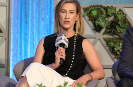 photo: Amy Powell speaking into a Viariety microphone | (CREDIT: Rex/Shutterstock)