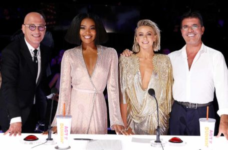 "AMERICA'S GOT TALENT -- ""Live Results Finale"" Episode 1423 -- Pictured: (l-r) Howie Mandel, Gabrielle Union, Julianne Hough, Simon Cowell -- (Photo by: Trae Patton/NBCU Photo Bank/NBCUniversal via Getty Images via Getty Images)"