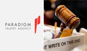 Paradigm Talent Agency logo & photo of Gavel. (credit: Deadline)