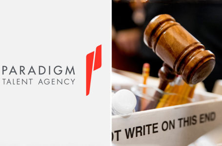 Paradigm Talent Agency logo & photo of Gavel. (credit: Deadline)