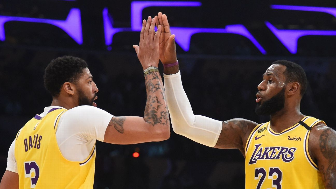 LeBron James & Anthony Davis high five | credit: ESPN