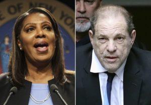 Attorney General Letitia James, Harvey Weinstein. (New York Daily News)