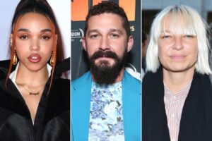 FKA Twigs; Shia Lebouf; Sia (CREDIT: GARETH CATTERMOLE/GETTY IMAGES; RICH FURY/GETTY IMAGES; LARRY BUSACCA/GETTY IMAGES)