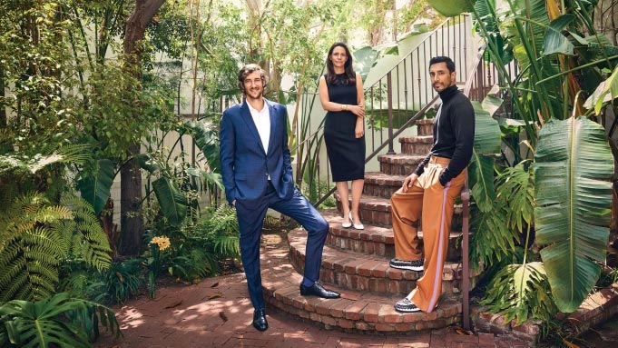 Riz Ahmed (right), whose performance in 'Sound of Metal' landed him a best actor nomination, was photographed on Oscar Sunday with his lawyers Daniel Passman and Tara Kole at the Sunset Marquis in WestHollywood. (Credit: PHOTOGRAPHED BY JOSH TELLES;  courtesy of THR)